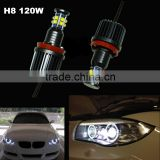 7000K Xenon White 120W C ree Angel Eyes Front Headlight Kit Led H8 Angel eyes for BMW X5 E70 X6 E71 E90 E91 E92 M3 E60