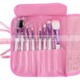 8pcs Professional Cosmetic Makeup Brush Set With Pink Letter Print Bag