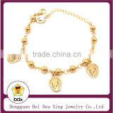 Womens Ladies Teens Girls Catholic Gift Wholesales Gold 6MM Stainless Steel Pearl Bead Blessed Miraculous Mary Rosary Bracelet