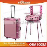 2016 Sunrise Best Selling Aluminum Pink Professional Trolley makeup station with lights mirror