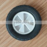 8x1.75 inch semi pneumatic rubber wheel with diamond tread and white plastic rim for mowers or material handling equipment