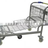 RH-WT03 wire mesh surface 1440*720*500 500kgs heavy duty five wheels Warehouse Hand Cart unfolding Hand Trolley with basket