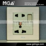 13A Universal Wall Socket and Switch with Earthing and Brushed-texture panel