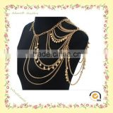 Gold plated shoulder chain, shoulder chain jewelry, shoulder body chain