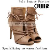 2016 Elegant peep toe fashion half boots high heel lace-up peep toe ankle boots for Carton Fair PE4232