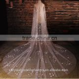2015 wholesale long flower cathedral wedding veils accessories two layers 5 meters long and 3 meters width with comb LV08