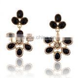 Black flower design resin pendant earrings new fashion crystal stud earrings jewelry wholesale