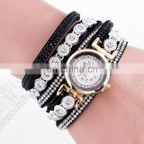Suede Band With Rhinestone Delicate Gold Case 2 Rolls Wrap Ladies Bracelet Watch