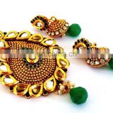 INDIAN KUNDAN JEWELRY-INDIAN ETHNIC GOLD PLATED PENDANT SET-WHOLESALE IMITATION JEWELLERY-BOLLYWOOD FASHION JEWELRY