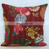 16* Embroidery Indian floral print kantha Handmade Kantha Cushion Pillow Cover Throw work Decorative Traditional Art Brown