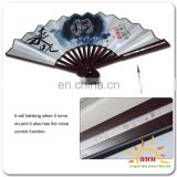 Motion Sensor Flash Plastic Custom Printed Folding Hand Fan WIth Lights Japanese Folding Fan