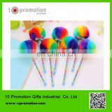 Plastic creative stationery gel pen/colorful rainbow hair ball for children study