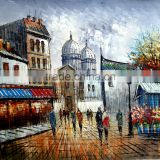 wall art paris streetscape oil painting on canvas home decor ZQ-56 new product factory direct