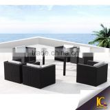 Foshan factory plastic wicker cheap dining room set outdoor rattan dining sets