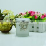Frosted white candle glass jar/candle holder with silk screen print on the jar for making candle                                                                                                         Supplier's Choice
