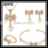 Fashion Popular Pearl Full Rhinestone Bowknot Crystal Earrings Necklace Bangle Ring Jewelry Sets Wholesale
