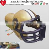 2016 Giant custom golden Inflatable football entrance helmet tunnel