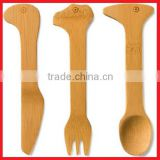 Custom Shape design Wooden or bamboo Spoon knife and Fork cutlery set with Laser or Burnt engraving Logo
