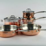 3 ply /layer top quality copper cookware set/saucepan/casserole/frypan/skillet with casting handle