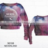 Hot sale Top fashion 3d printing sweater unisex neverland crop sweatshirt for women high fashion