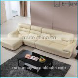 SS-046 Modern Design off-white Synthetic Leather Sectional home Sofa foshan L shape recliner sofa