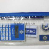PVC pencil pouch calculator stationery set ,Chelsea football team school kit for child