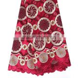 2016 African new arrivals swiss embroidered double organza lace wine african voile lace fabric