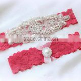 Fushia Red Lace Garter Set,Wedding Garter Belt,Applique Garter,Rhinestone Pearl Garter,Bridal Garter Set,Prom Garter