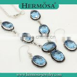 Hermosa Jewelry Trendy Blue Topaz 925 Sterling Silver Jewelry Sets For Woman Fashion Accessory 2015                                                                         Quality Choice
