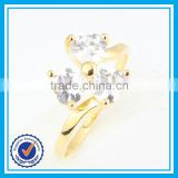Hot selling high quality artificial CZ crystal gold clover ring