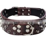 China manufacturer custom various rivet studded leashes pet leather collars with buckles