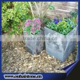 Popular used garden decors natural slate stone black flower pots