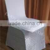 YHC#35 luxury silver sequins spandex lycra wedding banquet events polyester stretchy chair back cover