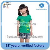 Children's Clothing Printing Green Color round neck t shirt for 2-12 year Girls                                                                         Quality Choice