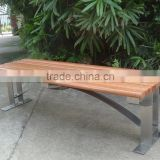 Backless wood and stainless steel street bench seating