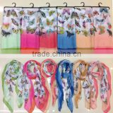 custom latest design new fashion lady chiffon silk butterfly scarf
