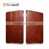 ICARER Genuine Leather Book Style Case For Apple iPad Mini 4 Tablet Real Leather Folio Cover With Stand Function