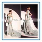 2014 Fashion Style Lace SweetheartCap Sleeve Mermaid Gown with Appliqued Evening Dress Designer Arabic (EVDT-1004)