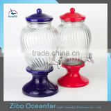 Best Selling Clear Glass Water Honey Dispenser Colored Ceramic Stand Juice Glass Jar With Tap