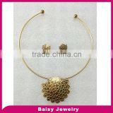 most popular stainless steel wire necklace jewelry set with flowers