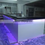 Artificial Marble Modern High End Bar Counter,Modern L-Shape led light reception worktop Designs