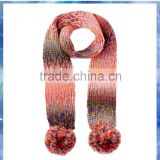 Colourful with pom pom Knitted Infinity Scarf For Children,knitted wool scarves,knit cable scarf