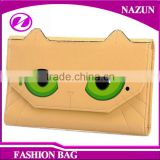 2016 Korean style fashion fancy cat face green eyes shape designer cartoon lady beautiful tri-fold wallets