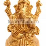 Handmade Sculpted Brass Hindu God Ganesh Ji - Religious & Spritual Idols Temples Home Gift Item Decorative