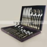 Online wholesale gift box gold plated rose flower 18/0 24 pcs setstainless steel cookware set