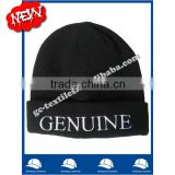 100% acrylic soft beanie hat in black color with with white embroidery letters on cuff wholesale factory alibaba china