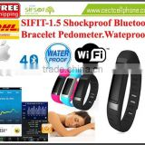 SIFIT-1.5 Shockproof Bluetooth 4.0 Bracelet pedometer Black Color with WIFI hotspot. Black Color Shock Proof Bracelet Pedometer.