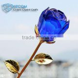 2016 New-blown blue crystal rose for wedding favors or home decoration