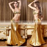 Setelisy 2pcs tops and long skirts suit belly dance gold color stage outfits