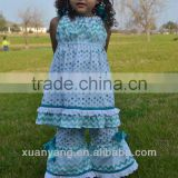 Boutique Outfit Teal and white polka dot/chevron Spring ruffle top and pants child clothes